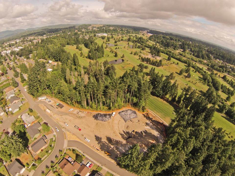 Deschutes Valley Park - overhead view of park site under construction