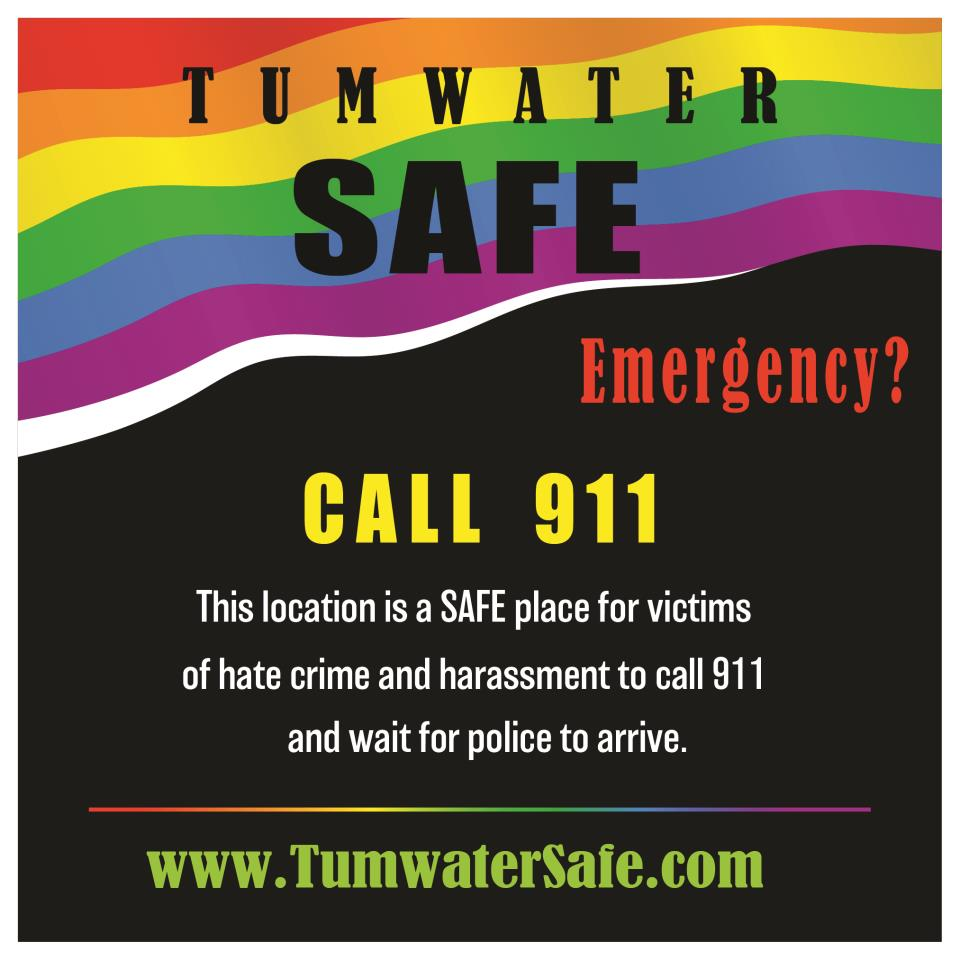 Tumwater SAFE Decal indicates a safe harbor for hate crime victims.