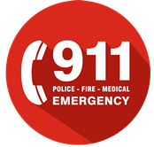 911 Emergency Call round red